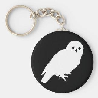 Best Price White Barn Owl Basic Round Button Key Ring