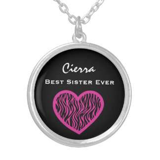 Best Sister Ever PINK BLACK  ZEBRA Heart V026 Silver Plated Necklace