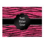 Best sister ever pink glitter zebra stripes