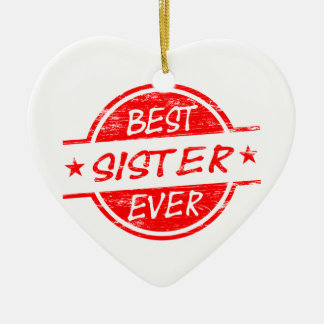 Best Sister Ever Red Christmas Ornament