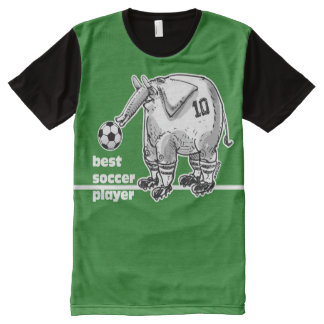 best soccer player elephant on green pitch All-Over print T-Shirt