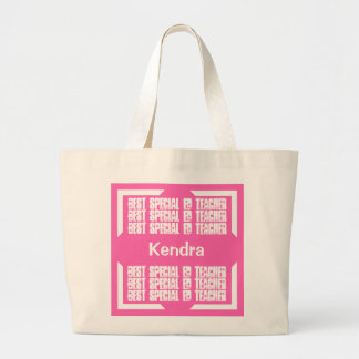 Best Special Ed Teacher Pink and White C03H Jumbo Tote Bag