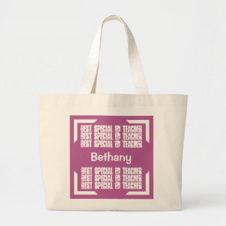 Best Special Ed Teacher Pink and White Modern C06 Jumbo Tote Bag