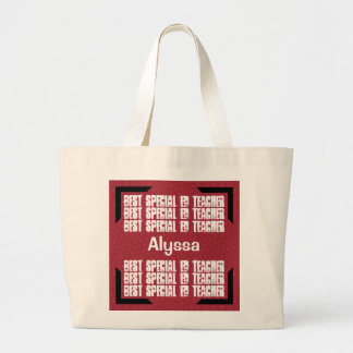 Best Special Ed Teacher Red and White Modern C01 Jumbo Tote Bag