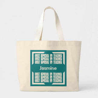 Best Special Ed Teacher Teal and White C03E Jumbo Tote Bag