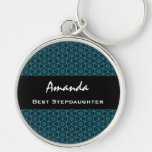 Best Stepdaughter Teal Star Pattern Collection Silver-Colored Round Key Ring