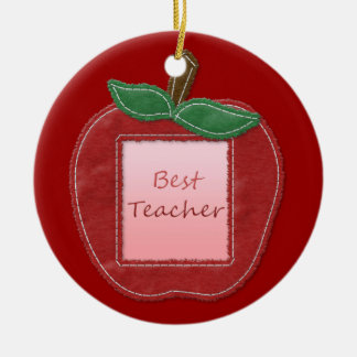Best Teacher Apple Christmas Ornament