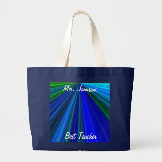 Best Teacher Canvas Bag, Blue Starburst, Thank You Jumbo Tote Bag