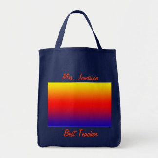 Best Teacher Canvas Bag, Personalized Rainbow Grocery Tote Bag