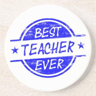 Best Teacher Ever Blue Coaster