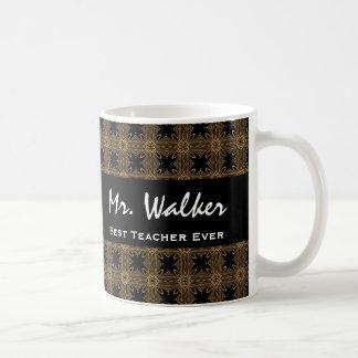 Best TEACHER Ever Gold Black Squares and Stars Basic White Mug