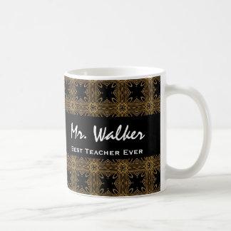 Best TEACHER Ever Gold Black Squares and Stars Classic White Coffee Mug