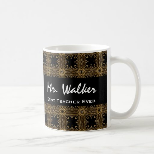 Best TEACHER Ever Gold Black Squares and Stars Coffee Mugs