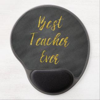 Best Teacher Ever Gold Faux Foil Chalkboard Gel Mouse Pad
