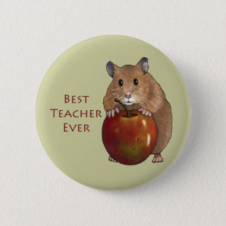 Best Teacher Ever: Hamster With Apple: Art 6 Cm Round Badge