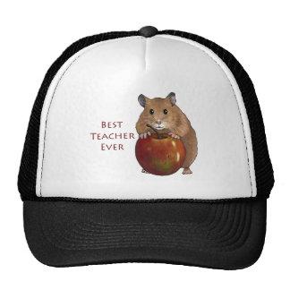 Best Teacher Ever: Hamster With Apple: Art Cap