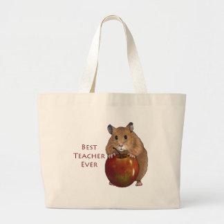 Best Teacher Ever: Hamster With Apple: Art Jumbo Tote Bag