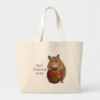 Best Teacher Ever: Hamster With Apple: Art Large Tote Bag
