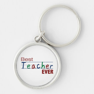 Best Teacher Ever Silver-Colored Round Key Ring