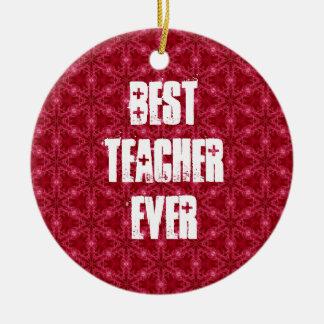 Best Teacher Ever Template Grunge Text Design Round Ceramic Decoration