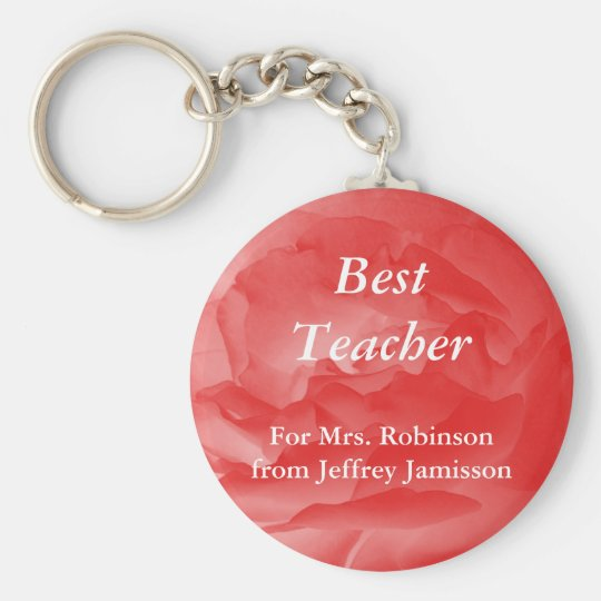 Best Teacher Keychain (Key Chain), Coral Rose