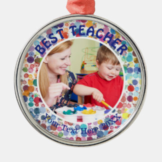 BEST TEACHER, Multi-Color Watercolor Splatter Dots Christmas Ornament