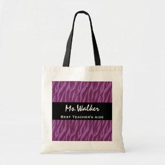 Best TEACHER'S AIDE Purple and Black Zebra Gift
