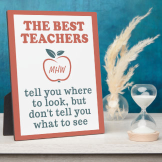 BEST TEACHERS custom monogram plaque