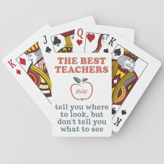 BEST TEACHERS custom monogram playing cards