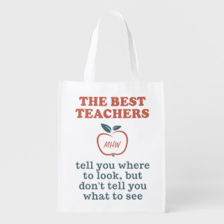 BEST TEACHERS custom monogram reusable bags