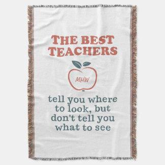 BEST TEACHERS custom monogram throw blanket