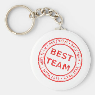 Best Team stamp - prize, first, champion,trophy Basic Round Button Key Ring