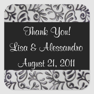 Best Thank You Favor Tags Name and Date Square Sticker