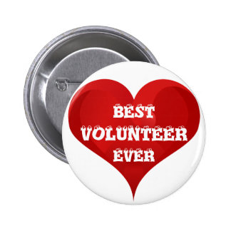 Best Volunteer Ever Red Heart Button