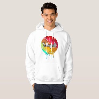 Best White Volleyball Hoodie- Colorful Paint Ball Hoodie