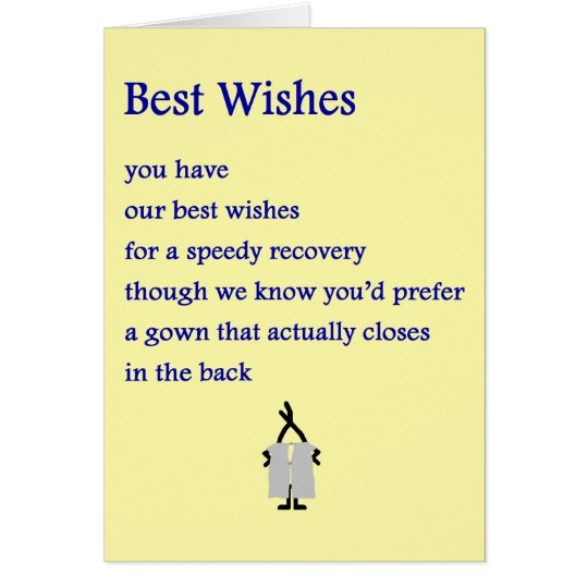 Best Wishes - a funny get well poem