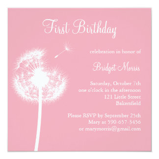 Best Wishes! Birthday Party (pink) 13 Cm X 13 Cm Square Invitation Card