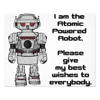 Best Wishes From Atomic Powered Toy Robot 11.5 Cm X 14 Cm Flyer