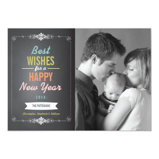 Best Wishes Happy New Year Photo Card 13 Cm X 18 Cm Invitation Card