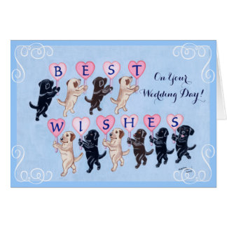 Best Wishes Labradors Wedding Greeting Card