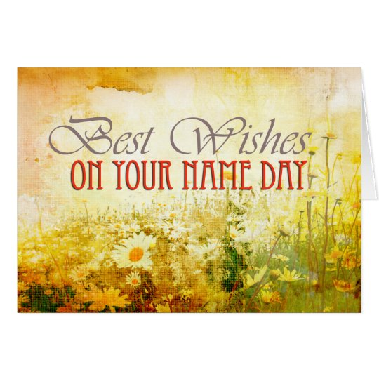Best wishes, name day card with daisies