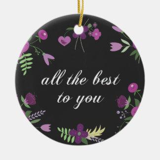Best wishes round ceramic decoration