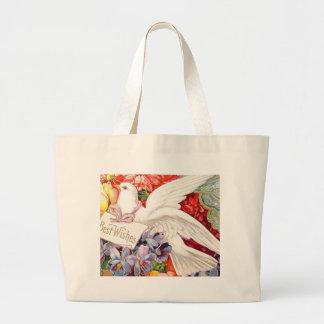 Best Wishes Victorian Dove Wedding Birthday Jumbo Tote Bag