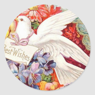 Best Wishes Victorian Dove Wedding Birthday Round Sticker