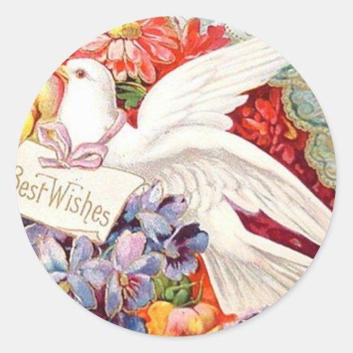Best Wishes Victorian Dove Wedding Birthday Sticker