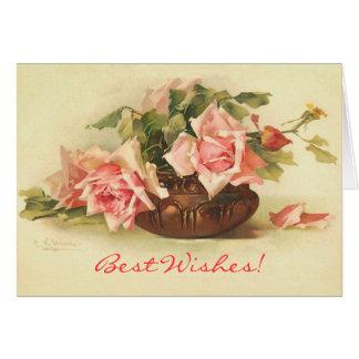 Best Wishes Vintage Roses Card