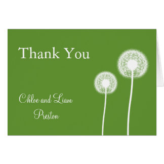 Best Wishes! Wedding Thank You Card (green)