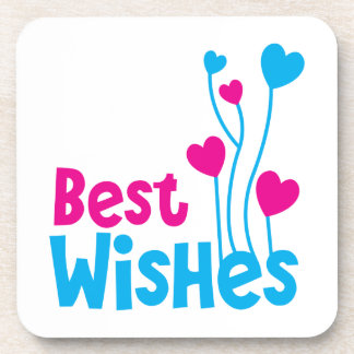 BEST WISHES with love heart balloons Drink Coaster