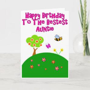 Bestest Auntie Happy Birthday Garden Greeting Card