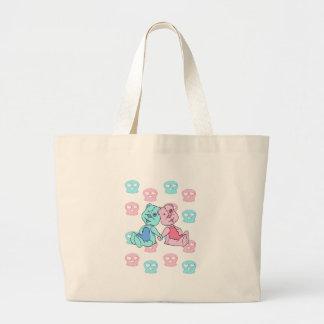 Bestest Best pink blue skulls Tote Bags